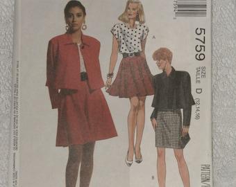 McCalls Pattern 5759 Misses' Flared Jacket, Top & Skirt  Uncut Size 12, 14, 16 Vintage