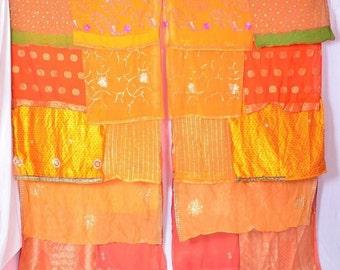 Bohemian Gypsy Curtain curtains boho curtains scarfs sequins orange zari C74