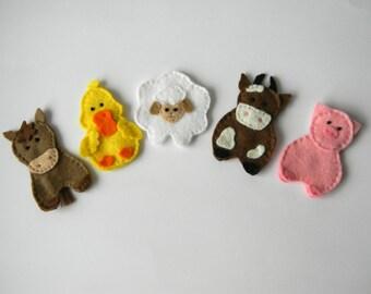 Felt finger puppets McDonald's farm - set of 5, farm animal finger puppets, christmas gift , stocking stuffer