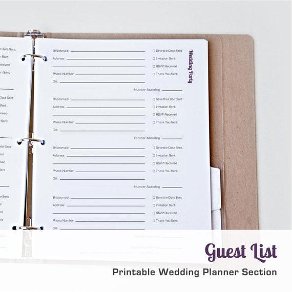printable wedding guest list organizer