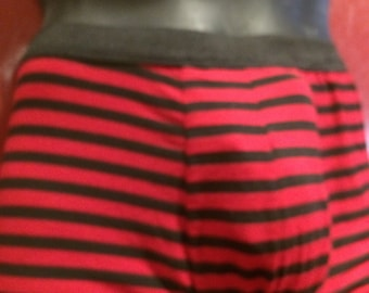 Mens red and black stripe boxer briefs. 4way stretch cotton lycra stetch jersey fabric