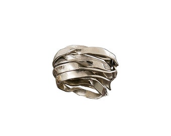 Wide wrap ring, silver pinky ring, alpaca jewelry, wrap around ring, artisan silver ring, metal work band, boho silver ring, spiral band