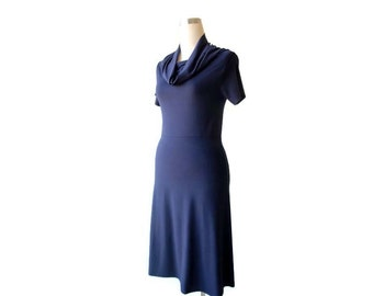 Spring dresses for women, Navy blue dress, Short sleeve dress, Midi dress, Cowl dress, Plus size clothing, XL dress, XXL dress, A line dress