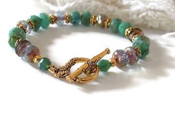 Green Turquoise Beaded Bracelet  Turquoise Aqua Bracelet Beaded Women Bracelet Gift for Her Mother's Day Gift Wrap
