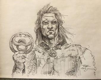 Original Conan the Barbarian Ballpoint Pen Sketch Drawing