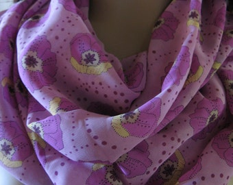 Pink Floral Silky Infinity Scarf Womens Accessory