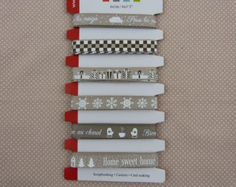 Assortment of ribbons taupe and white winter