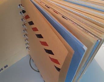 Carnet A6 recyclé avec enveloppes de sécurité, grosse spirale métal, recyclage papier, papier enveloppe recyclé, carnet recyclé