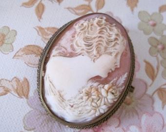 Antique French Cameo Brooch, Antique Cameo, Carnelian shell Cameo Brooch, Art Deco Cameo,  Edwardian Era Cameo, Hand Carved Cameo Brooch