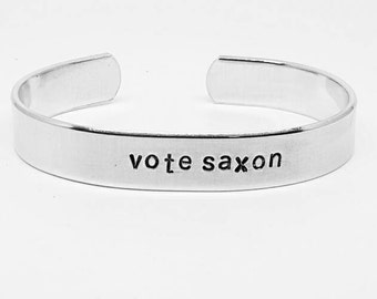 Vote saxon: Dr. Who inspired hand stamped aluminum cuff bracelet