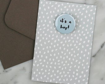 Baby Boy Card, New Baby Card, Baby Card, Baby Shower Card, It's a Boy. BABY BOY.