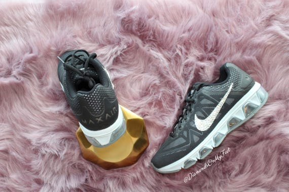 Nike Tailwind Shoes Nike Out Max Custom Silver Sneakers Air Women's Swarovski Authentic Bling 7 Crystals Black Clear Blinged With Swarovski 4wqfII