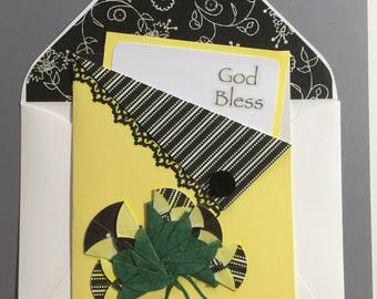 Note card - Black and Yellow
