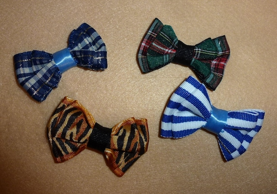 Puppy Bows ~ Bows for boys double loop bow tie shape pet hair bow barrettes or bands (fb107)