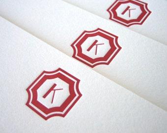 Regency Initial Stationery - Custom letterpress flat note set