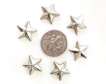 13mm Silver Metal Star Shaped Studs Hot Fix (HotFix) Iron On or Glue on Flat Back Studs/ 100 pcs., 50 Pcs. or 25 Pcs.