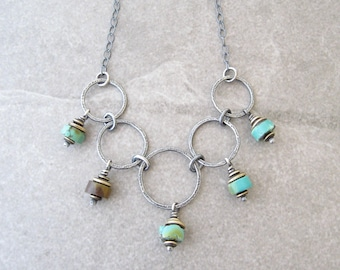 turquoise necklace, silver and turquoise, metalwork jewelry, rustic turquoise necklace, mixed metal