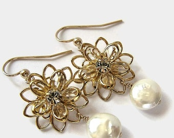 SALE - Gold Crystal and Pearl Flower Earrings