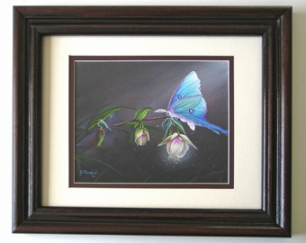 8x10 FRAMED Luna Moth Fairy Lantern Giclee PRINT on Fine Art Paper by J. Mandrick