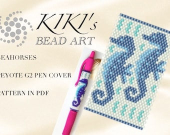Pattern, peyote pen cover Seahorses, peyote pattern for pen wrap - peyote pattern for G2 pen by Pilot - PDF instant download