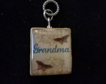 Grandma butterfly Scrabble Tile Pendant Necklace