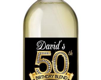 50th Birthday Wine Labels, Personalized Birthday Wine Label