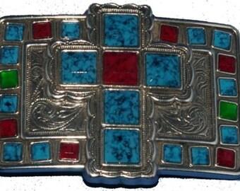Turquoise Belt Buckle - Sonora Cross Trophy Buckle - Cross Turquoise Belt Buckle - Belt Buckle Turquoise