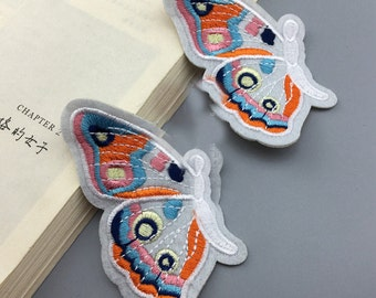 10pcs 5.5x8.5cm wide ivory orange blue butterflies pocket embroidered appliques patches bw47ds free ship