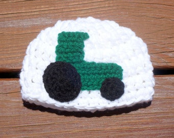 Tractor Applique Hat, Crochet Tractor Hat, Baby Farming Cap, Baby Boy Hat, Girl Cap, Photo Prop, Red Tractor, Green Tractor, Cute Baby Hat
