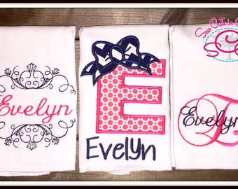 Personalized Navy and Pink Monogrammed Burp Cloths Set