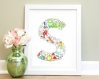 Nursery Alphabet Watercolour Print S is for.... Alphabet Letter Art Illustration Nursery wall art Children Alice in wonderland