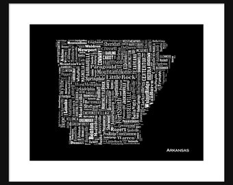 Arkansas Typography Map Poster Print Blaack