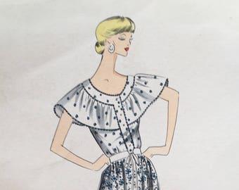1970's Original Italian Fashion Design with Fabric Swatches - Peasant Dress! - Andrea Borghi