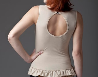 Nude Bodysuit Lingerie / Keyhole Body With Frills
