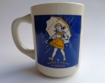 Morton Salt Coffee Mug/Cup When it rains it pours image of 1956 girl. Made in the 80's