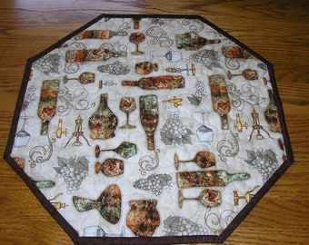 Quilted Table Runner, Wine Print Topper, Wine Decor, 18 x 18 inches