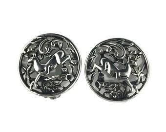 vintage 1960's deer earrings / Sarah Coventry / silver / clip-on earrings / woodland creatures forest / vintage earrings / vintage jewelry