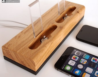 PRE-ORDER iPhone wooden dual docking station, from black collection, iPhone 6, iPhone 7 dock, iPhone 8 dock, iPhone X charging station