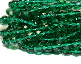 Emerald Green Fire Polished Czech Glass Beads 6mm - CZ0122 50 pcs