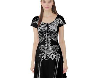 Skellington Tunic Dress Short Sleeve Tunic Dress