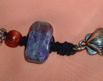 Macramé PENDANT, NEW SUMMER Collection! Purple stone, Wood bead, Silver shell, Hippie, Earthy, Hemp, RedRobinArt, Grigsby Gallery and Gifts