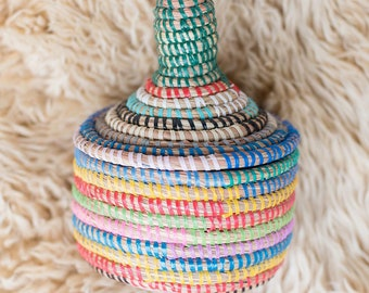 Small Rainbow African Basket With Lid