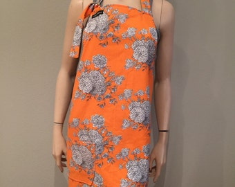 Womens Apron Full Apron Orange with White Flowers