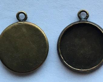 Antique Bronze Round Cabochon Setting  Pendant Tray 14mm  Bezel Tray  DIY Jewelry Making Findings 20Pcs