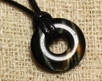 Gemstone - 20mm Donut Hawk Eye pendant necklace
