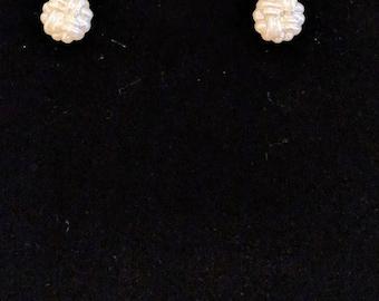 Pearl-esque Button Earrings (Basket Weave)