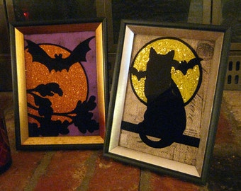 Pair of Hand Painted Halloween BAT & BLACK CAT - REvERSE PAiNTED on Glass - 6 x 8, Halloween Decor, Halloween Decoration