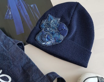Hand embroidered blue beanie with sequins, beadwork and silk organza