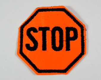 Bright Neon Orange STOP sign Sew On Patch Applique