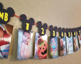 Mickey Mouse Birthday Month Banner   Mickey Mouse 1st Birthday Party Decorations   Birthday banner   Baby Shower banners Mickey mouse ears